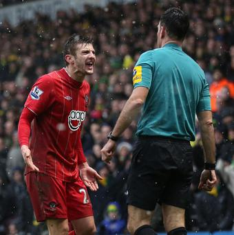 Southampton were outraged with Mike Clattenburg, pictured right, after he awarded Norwich a penalty