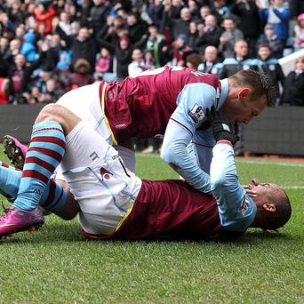 Gabriel Agbonlahor, bottom, netted Villa's opener in the victory over QPR
