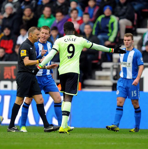 Mark Halsey, centre left, claimed his view of Callum McManaman's challenge was blocked