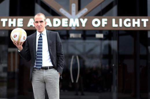 SUNDERLAND, ENGLAND - APRIL 02: Paolo Di Canio poses with a ball after being unveiled as the new Sunderland manager at The Academy of Light training ground on April 02, 2013 in Sunderland, England. (Photo by Ian MacNicol/Getty Images)
