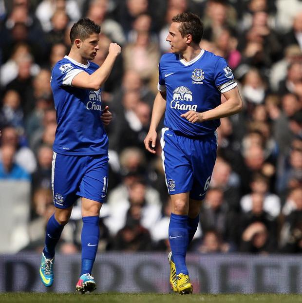 Phil Jagielka, right, scored Everton's equaliser at White Hart Lane