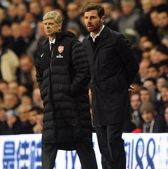 Arsene Wenger, left, insists his focus is on Arsenal's perfomances and not Tottenham's