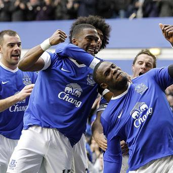 Darron Gibson, left, and Victor Anichebe, front, were on target as Everton beat QPR