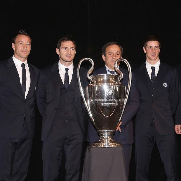 John Terry, second left, did not shake David Bernstein's hand at the trophy handover ceremony
