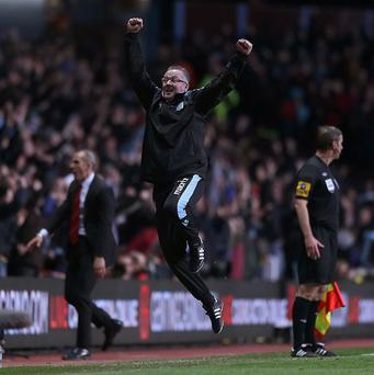 Paul Lambert, centre, was ecstatic with Aston Villa's huge victory