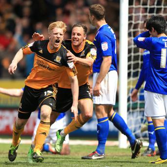 Paul McShane celebrates after heading Hull ahead
