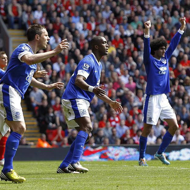 Sylvain Distin, centre, had a second-half goal disallowed