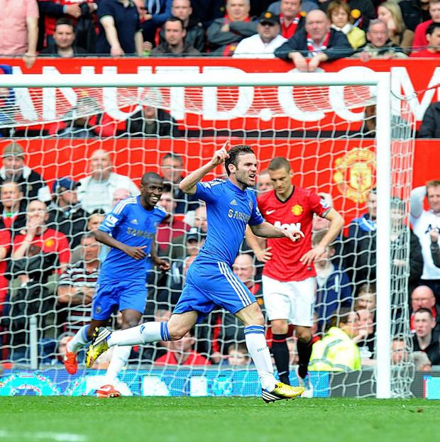 Juan Mata scored late on for Chelsea before Manchester United were reduced to 10-men