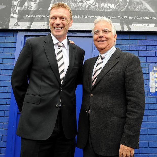 Everton chairman Bill Kenwright, right, is looking for a successor to David Moyes, left