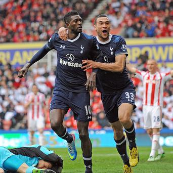 Emmanuel Adebayor, left, grabbed the winner as Spurs beat Stoke