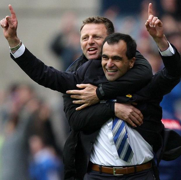 Roberto Martinez, right, and Graeme Jones will be reunited at Goodison Park
