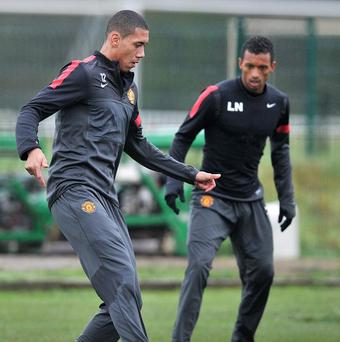 Chris Smalling, left, and Nani are nursing slight injuries