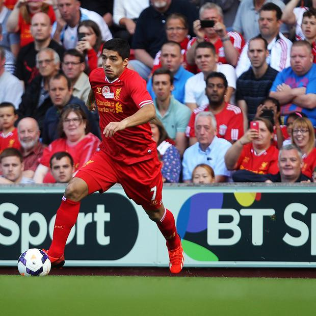 Luis Suarez, pictured, appeared as a second-half substitute in Steven Gerrard's testimonial against Olympiacos