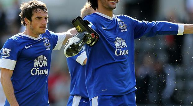 Marouane Fellaini, right, and Leighton Baines, left, have been linked with Manchester United