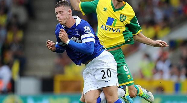Ricky van Wolfswinkel, right, salvaged a draw for Norwich, while Ross Barkley, left, starred for Everton