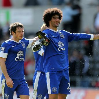 Leighton Baines, left, and Marouane Fellaini are wanted by Manchester United