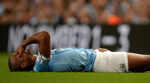 Vincent Kompany sustained a groin injury against Newcastle