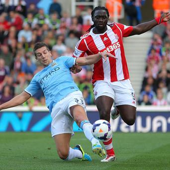 Matija Nastasic, left, helped Manchester City keep a clean sheet at Stoke