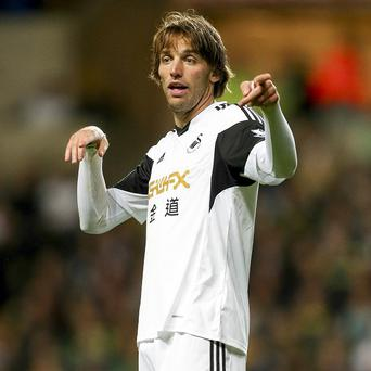 Michu, pictured, has been compared to Mesut Ozil and Dennis Bergkamp