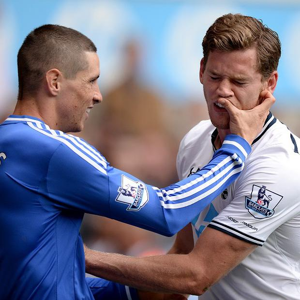 Fernando Torres, left, was involved with an incident with Jan Vertonghen, right, on Saturday