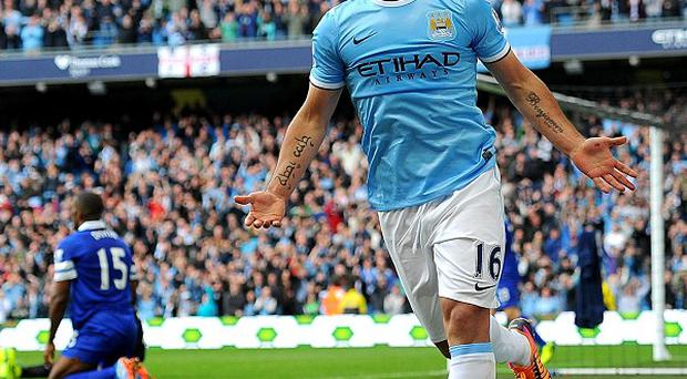 Sergio Aguero gave Manchester City the lead on the stroke of half-time