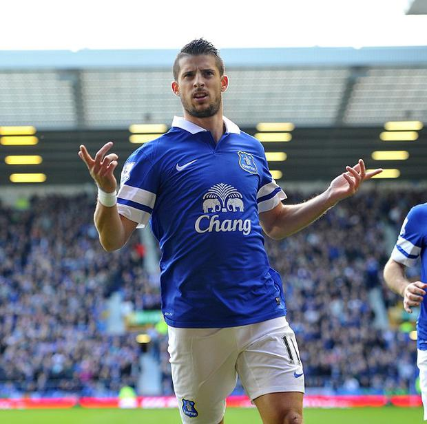 Kevin Mirallas scored Everton's opener against Hull on Saturday