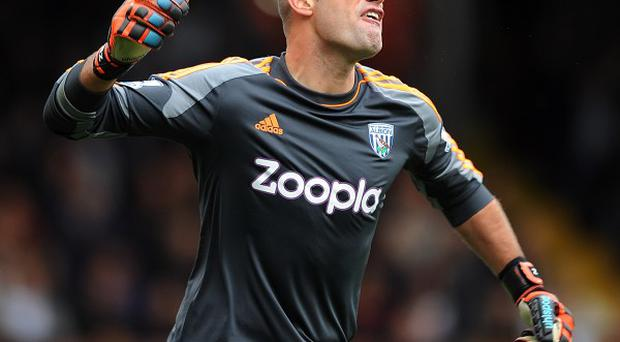 Boaz Myhill is set to continue in goal for West Brom's clash with Aston Villa on Monday night