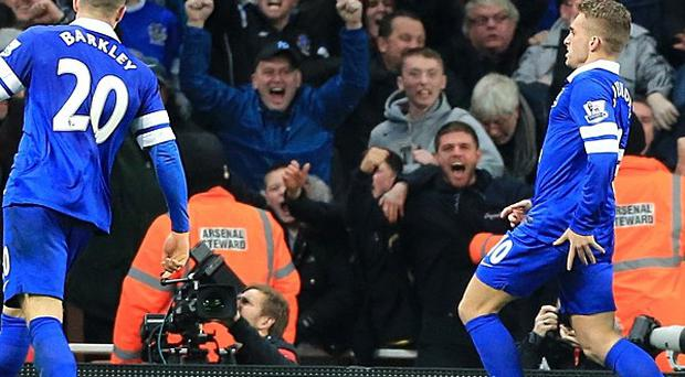 Gerard Deulofeu celebrates scoring the equaliser