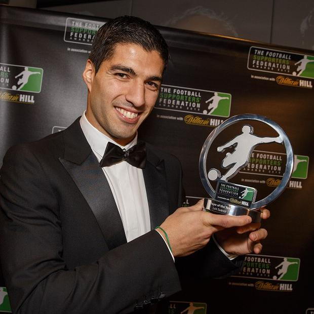 Luis Suarez was named player of the year at The Football Supporters Federation Awards Night