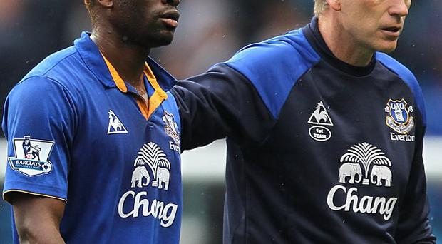 Louis Saha, left, played under David Moyes, right, at Everton