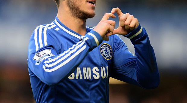 Eden Hazard celebrates scoring the winning goal