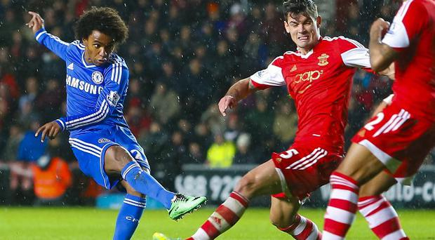 Willian drills home Chelsea's second goal