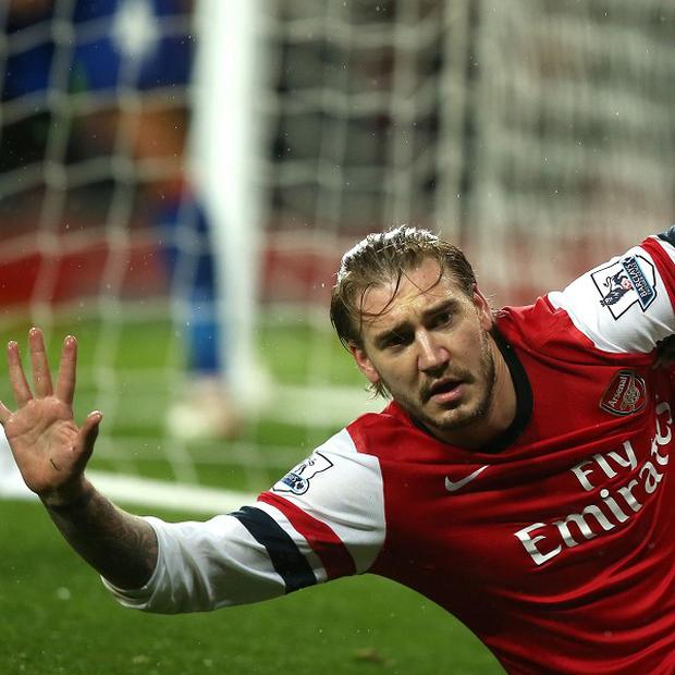 Nicklas Bendtner opened the scoring against Cardiff