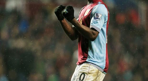 Christian Benteke, pictured, scored from the penalty spot to claim all three points for Villa