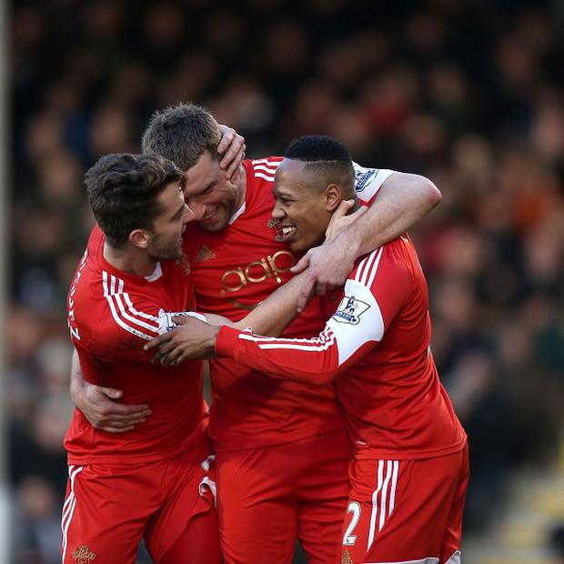 Rickie Lambert, centre, is happy at Southampton