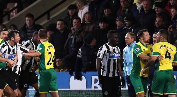 Norwich and Newcastle players clashed at Carrow Road