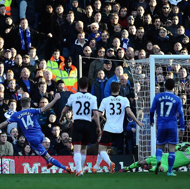 Andre Schurrle, left, slots in the second of his three strikes