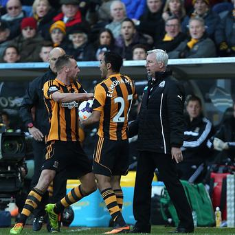 Newcastle United's manager Alan Pardew, right, saw red following a confrontation with Hull City's David Meyler, left