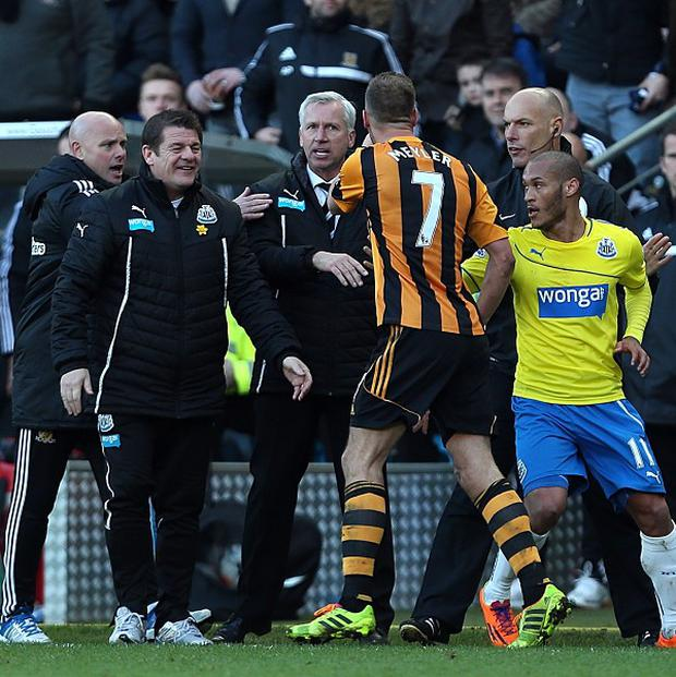 Newcastle United's manager Alan Pardew was sent to the stadn after a confrontation with David Meyler