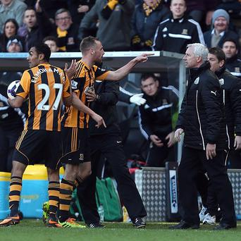 Newcastle United's manager Alan Pardew, centre, was sent to the stands following the incident