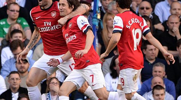 Tomas Rosicky, centre, starred for Arsenal
