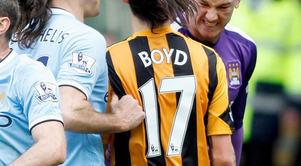 Hull's George Boyd and Manchester City keeper Joe Hart clashed during their sides' encounter at the KC Stadium on Saturday