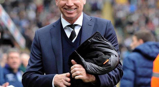 Newcastle United's manager Alan Pardew serves the final match of his stadium ban against Everton