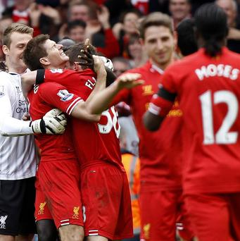 Steven Gerrard, second left, was instrumental in Liverpool's win