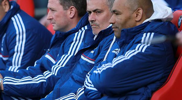 Chelsea's manager Jose Mourinho, second right, believes Manchester City deserved to win the title
