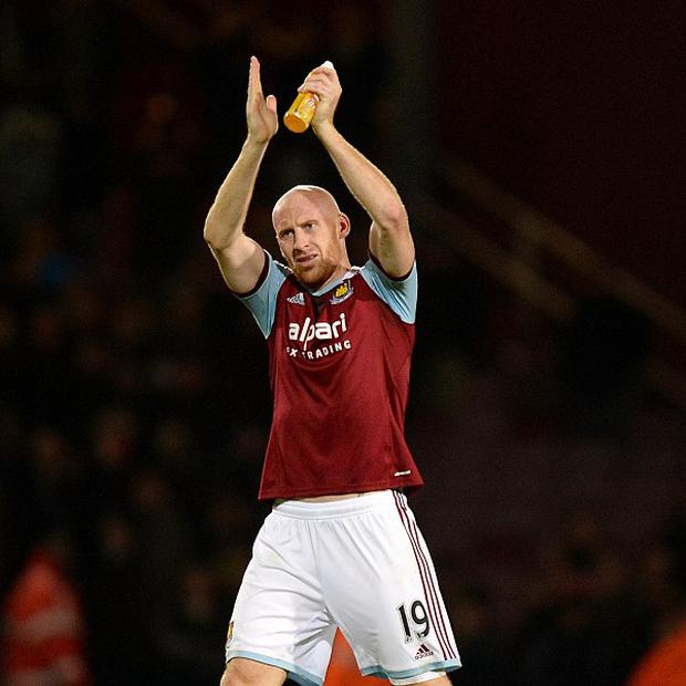 James Collins, pictured, is pleased Sam Allardyce is staying on at Upton Park