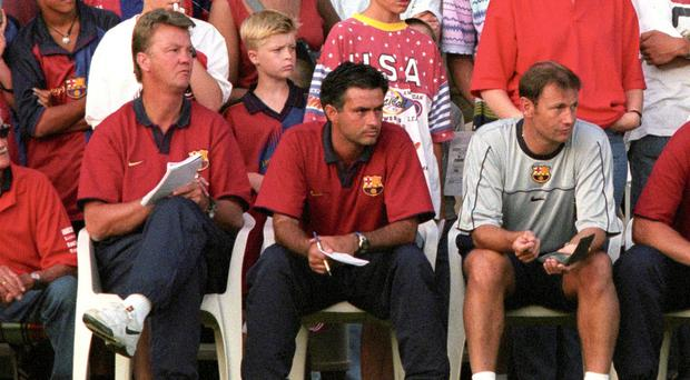 Louis van Gaal, left, will not fall out with his former assistant Jose Mourinho, centre