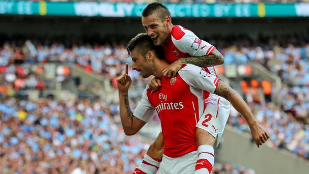 Olivier Giroud scored the third for Arsenal on Sunday