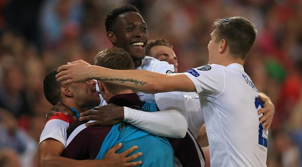 Danny Welbeck, centre, scored twice against Switzerland in Monday's Euro 2016 qualifier