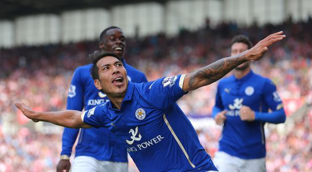 Leicester's Leonardo Ulloa celebrates scoring against Stoke